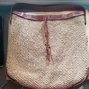 Lucky macrame bag with leather accents